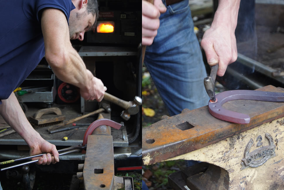 Ben bending the copper bar into shape then stamping nail holes into the shoe with a rectangular heated punch.